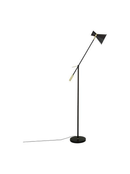 Retro leeslamp Audrey van metaal, Lampenkap: gepoedercoat metaal, Lampvoet: gepoedercoat metaal, Decoratie: vermessingd metaal, Mat zwart, 90 x 145 cm