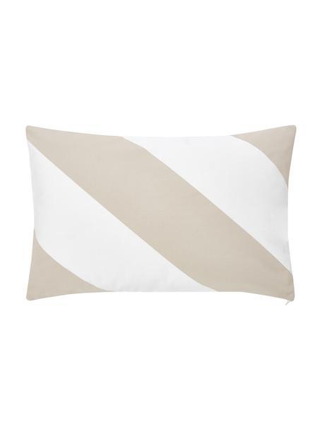 Gestreifte Kissenhülle Ren in Taupe/Weiß, 100% Baumwolle, Weiß, Beige, 30 x 50 cm