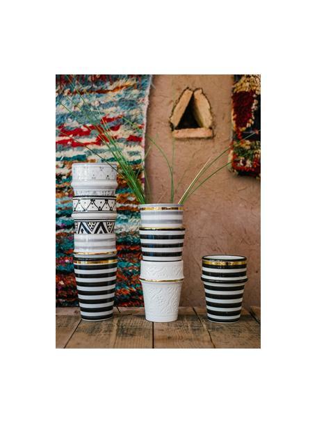 Handgemaakte Marokkaanse beker Beldi met goudkleurige rand, Keramiek, Lichtgrijs, crèmekleurig, goudkleurig, Ø 8 x H 11 cm
