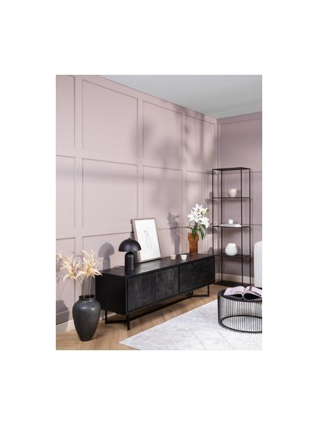 Schwarzes Lowboard Luca mit Türen aus Massivholz, Korpus: Massives Mangoholz, gebür, Gestell: Metall, pulverbeschichtet, Schwarz, 180 x 54 cm