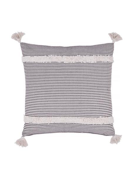 Cuscino boho a righe color nero/bianco con ornamenti Millia, Retro: 45% cotone, 30% poliester, Bianco, nero, Larg. 45 x Lung. 45 cm