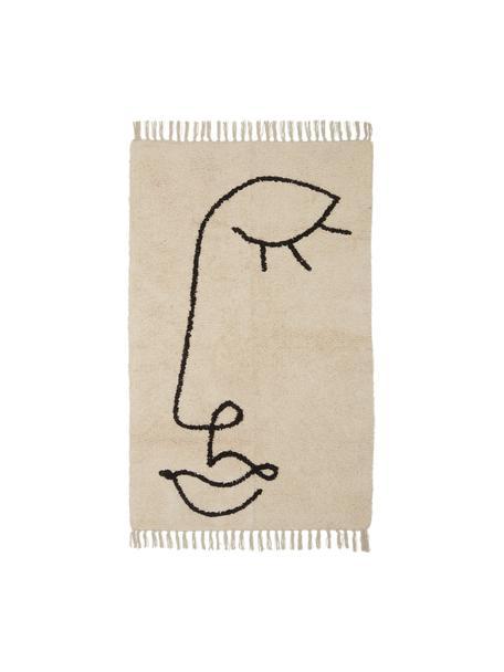 Vloerkleed Closed Eye met abstracte One Line tekening, Beige, zwart, 90 x 150 cm