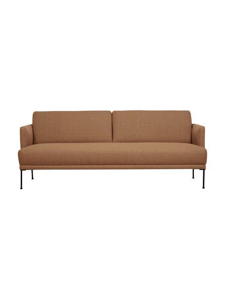 Sofa Fluente (3-Sitzer) in Nougat mit Metall-Füßen, Bezug: 100% Polyester 35.000 Sch, Gestell: Massives Kiefernholz, Füße: Metall, pulverbeschichtet, Webstoff Nougat, B 196 x T 85 cm
