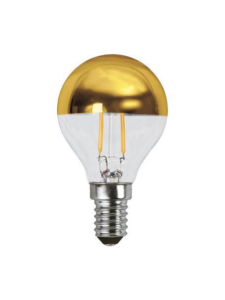 Bombilla E14, 1.8W, blanco cálido, 1ud., Ampolla: vidrio, Casquillo: aluminio, Dorado, transparente, Ø 5 x Al 8 cm