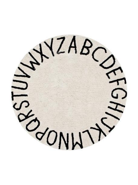 Runder Teppich ABC mit Buchstaben Design, waschbar, Flor: 80% Baumwolle, 20% recyce, Beige, Schwarz, Ø 150 cm (Größe M)
