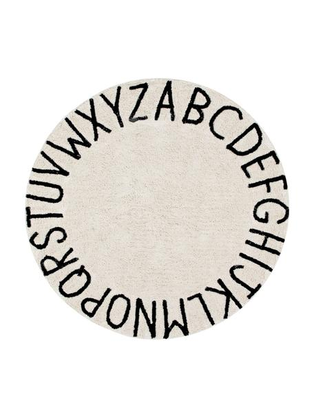 Tappeto rotondo con design a lettere ABC, Retro: cotone, Marrone chiaro, nero, Ø 150 cm (taglia M)