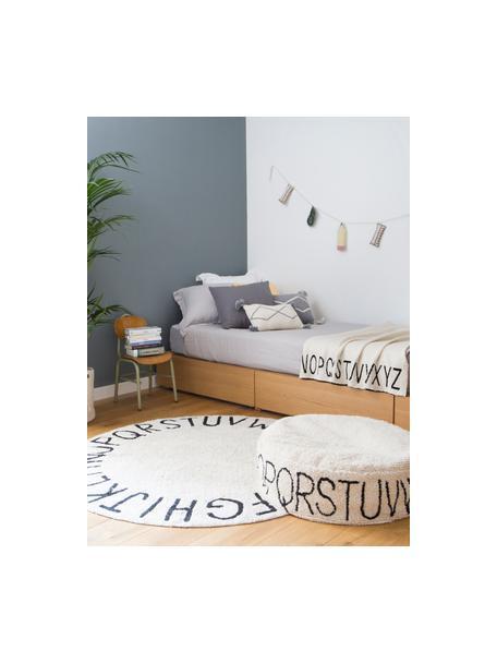 Alfombra lavable redonda con letras de diseño ABC, Algodón reciclado (80%algodón, 20%otras fibras), Beige, negro, Ø 150 cm (Tamaño M)