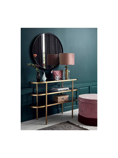 Mensola in metallo con ripiani in vetro Laura, Ripiani: vetro tinto, Struttura: metallo verniciato, Trasparente, dorato, Larg. 116 x Alt. 81 cm