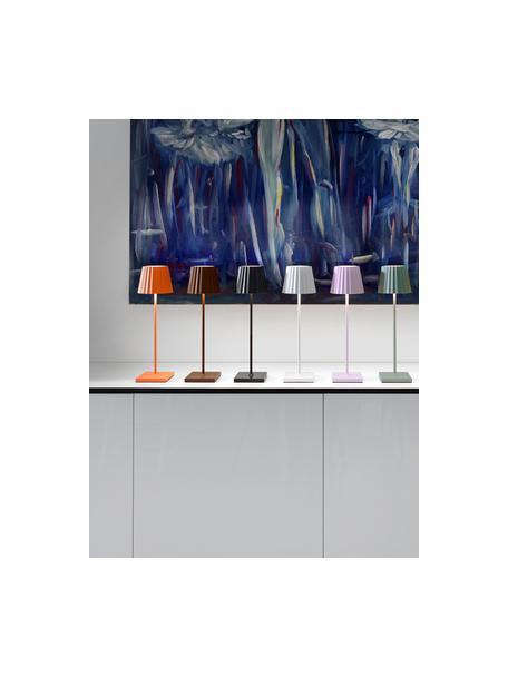 Mobiele dimbare LED tafellamp Trellia, Lampenkap: gelakt aluminium, Diffuser: kunststof, Lampvoet: gelakt aluminium, Zwart, Ø 15 x H 38 cm