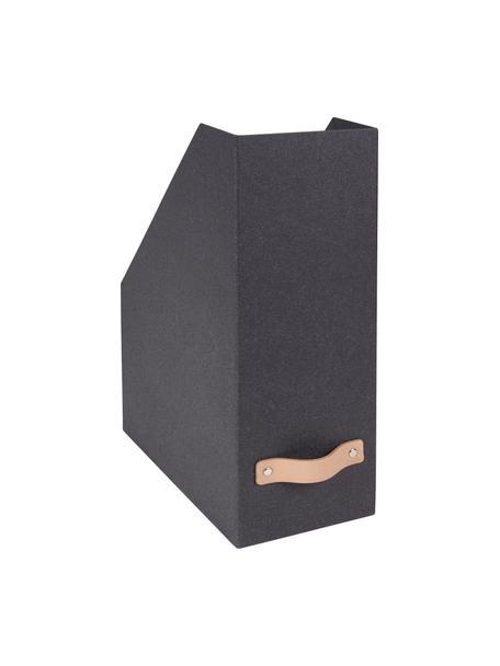 Tijdschriftencassette Estelle, Organizer: massief karton, met houtd, Organizer: zwart. Handvat: beige, 12 x 32 cm