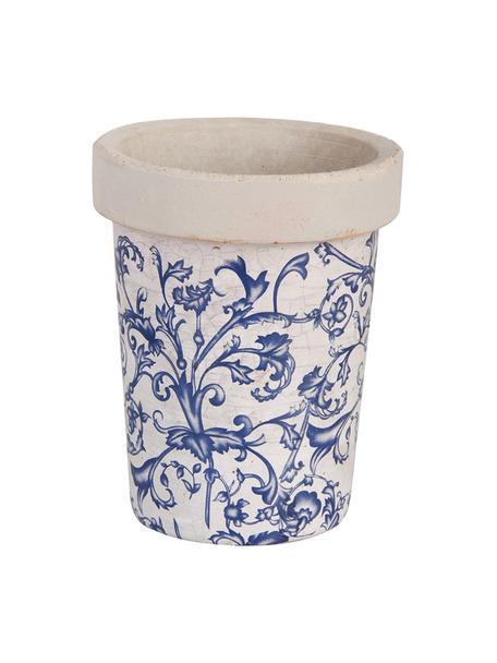 Macetero pequeño Cerino, Cerámica, Azul, blanco, Ø 13 x Al 16 cm