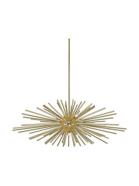Grote design hanglamp Urchin, Lampenkap: geborsteld metaal, Baldakijn: geborsteld metaal, Goudkleurig, Ø 101 x H 50 cm
