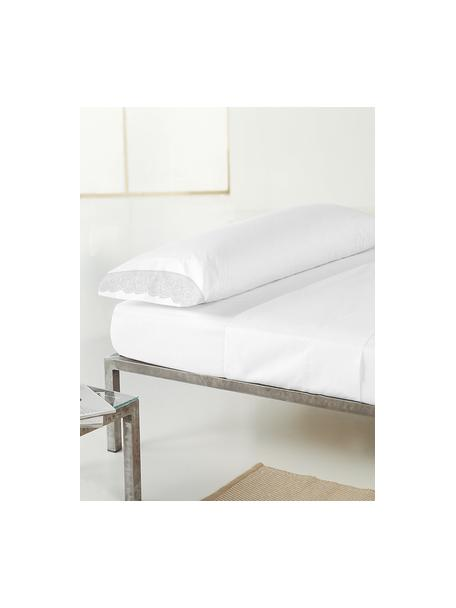 Fundas de almohada de satén con encaje Liso Pe, 2uds., 50x80cm, Blanco, An 50 x L 80 cm
