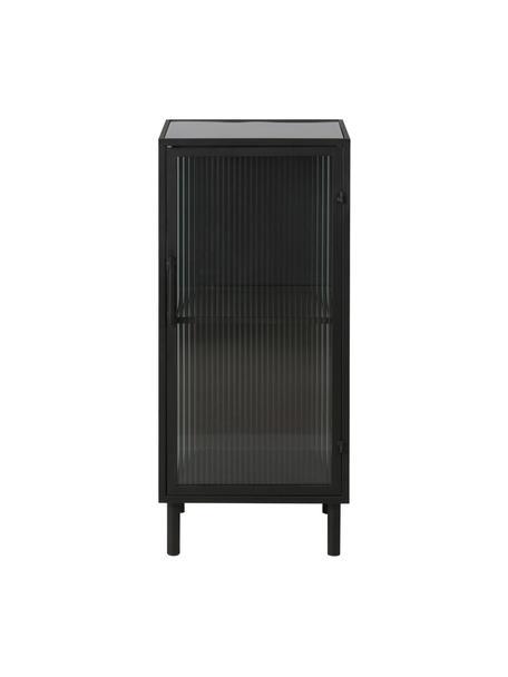 Chiffonnier peqeueño de vidrio y metal Markus, Estructura: metal recubierto, Negro, transparente, An 40 x Al 92,5 cm