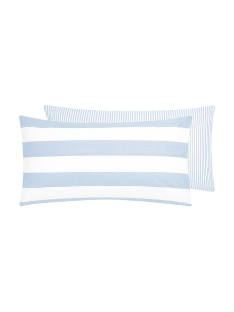 Funda de almohada de algodón Lorena, 45x85cm, Azul claro, blanco crema, An 45 x L 85 cm