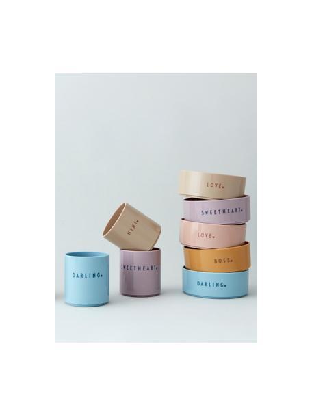 Kinderbecher Mini Favourite mit unterschiedlichen Schriftzug auf Vorder- & Rückseite, Tritan, BPA-, BPS- und EA-frei, Beige, Ø 7 x H 8 cm