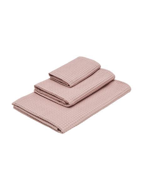 Lichte waffelpiqué handdoekenset Karima, 3-delig, Oudroze, Set met verschillende formaten