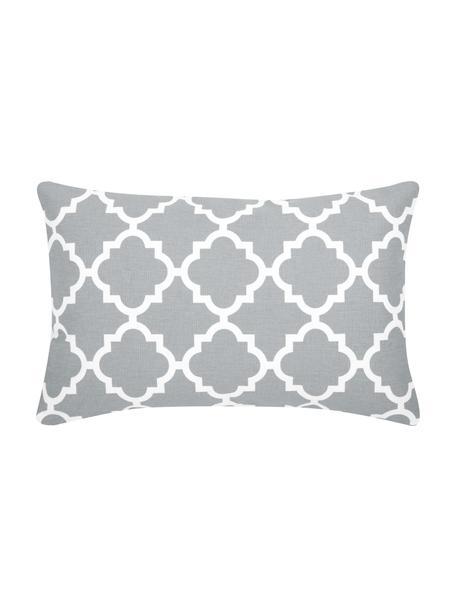 Kissenhülle Lana in Grau mit grafischem Muster, 100% Baumwolle, Hellgrau, Weiß, 30 x 50 cm