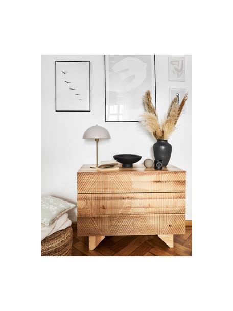 Lampa stołowa z metalu Matilda, Taupe, odcienie mosiądzu, Ø 29 x W 45 cm
