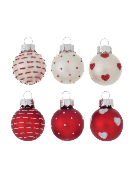 Weihnachtskugel-Set Lumi Ø 3 cm, 12-tlg., Weiß, Rot, Ø 3 x H 4 cm