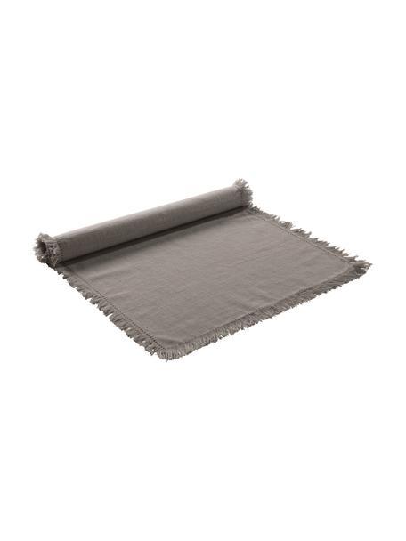 Camino de mesa de algodón con flecos Henley, 100%algodón, Greige, An 40 x L 140 cm