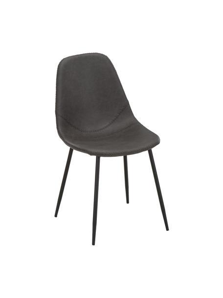 Krzesło tapicerowane ze sztucznej skóry  Linus, 2 szt., Tapicerka: sztuczna skóra (65% polie, Tapicerka: pianka, Nogi: metal malowany proszkowo, Ciemny szary, S 41 x G 53 cm