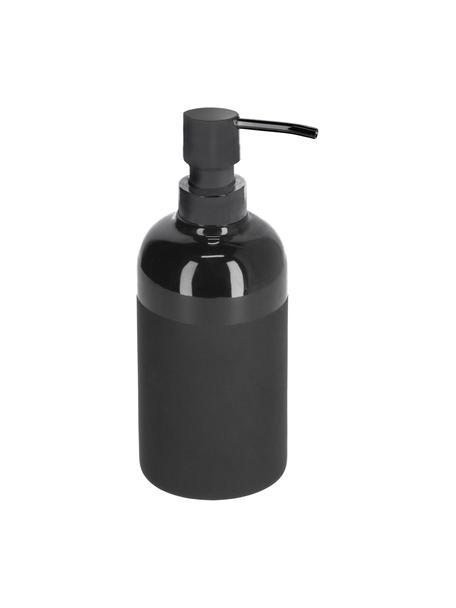 Seifenspender Riga aus Keramik, Behälter: Keramik, Pumpkopf: Polypropylen, Schwarz, Ø 8 x H 21 cm