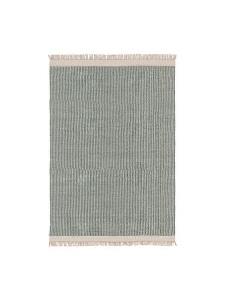 Tappeto in lana verde/crema tessuto a mano con frange Kim, 80% lana, 20% cotone Nel caso dei tappeti di lana, le fibre possono staccarsi nelle prime settimane di utilizzo, questo e la formazione di lanugine si riducono con l'uso quotidiano, Verde, crema, Larg. 80 x Lung. 120 cm (taglia XS)