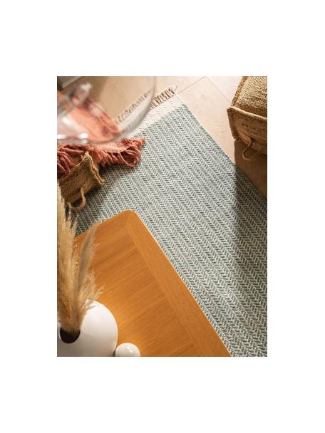 Alfombra artesanal de lana con flecos Kim, 80%lana, 20%algodón Las alfombras de lana se pueden aflojar durante las primeras semanas de uso, la pelusa se reduce con el uso diario, Verde, crema, An 80 x L 120 cm (Tamaño XS)