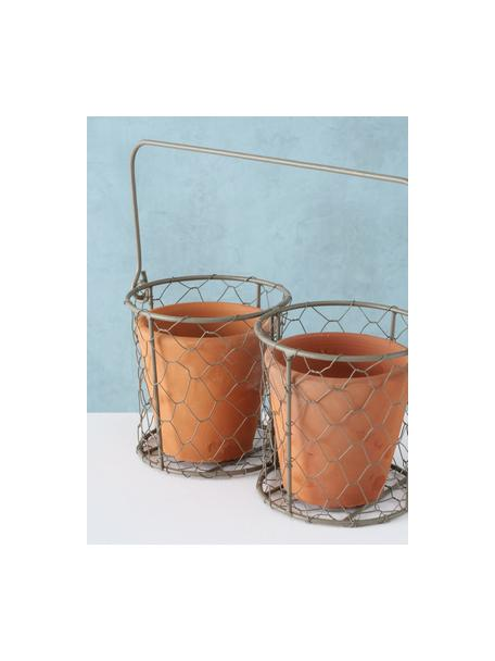 Großes Übertopf-Set Turino, 3-tlg., Übertopf: Keramik, Halter: Metall, Terrakotta, Metall, 25 x 12 cm