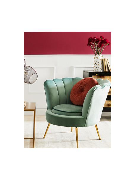 Samt-Sessel Oyster in Türkis, Bezug: Samt (Polyester) Der hoch, Gestell: Massives Pappelholz, Sper, Füße: Metall, galvanisiert, Samt Türkis, B 81 x T 78 cm