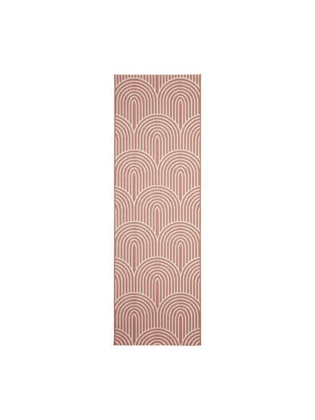 Passatoia da interno-esterno color corallo/bianco crema Arches, 86% polipropilene, 14% poliestere, Rosso, bianco, Larg. 80 x Lung. 250 cm