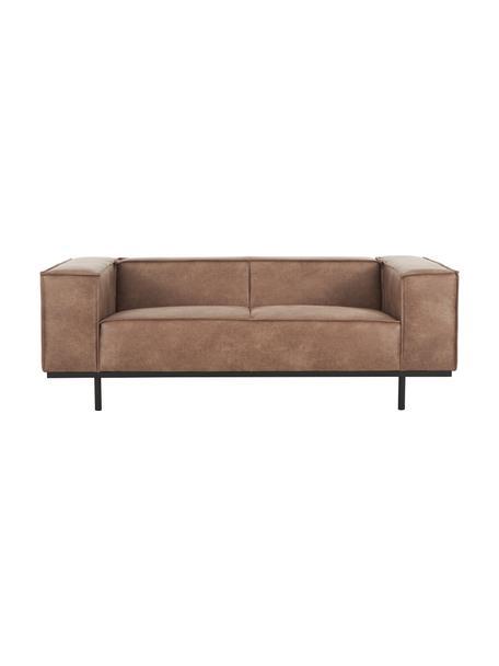 Sofá de cuero Abigail (2plazas), Tapizado: fibras de cuero (70%cuer, Patas: acero, pintado, Marrón, An 190 x F 95 cm