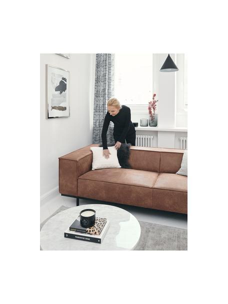 Sofá de cuero Abigail (2plazas), Tapizado: fibra de cuero (70%cuero, Patas: metal pintado, Marrón, An 190 x F 95 cm