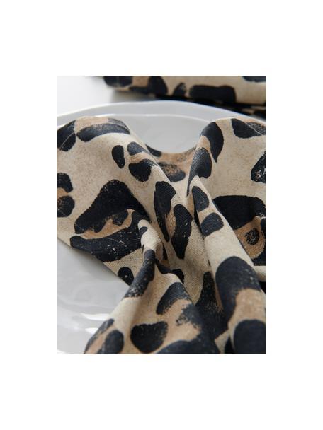 Stoffen servetten Jill met luipaarden print, 2 stuks, 100% katoen, Beige, zwart, 45 x 45 cm