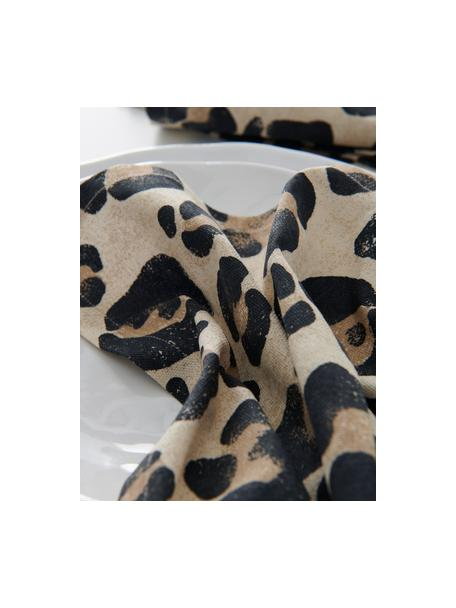 Tovagliolo di stoffa con stampa leopardata Jill 2 pz, 100% cotone, Beige, nero, Larg. 45 x Lung. 45 cm