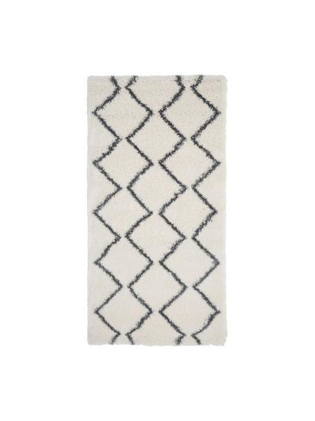 Hochflor-Teppich Velma in Creme/Dunkelgrau, Flor: 100% Polypropylen, Cremeweiß, Dunkelgrau, B 80 x L 150 cm (Größe XS)