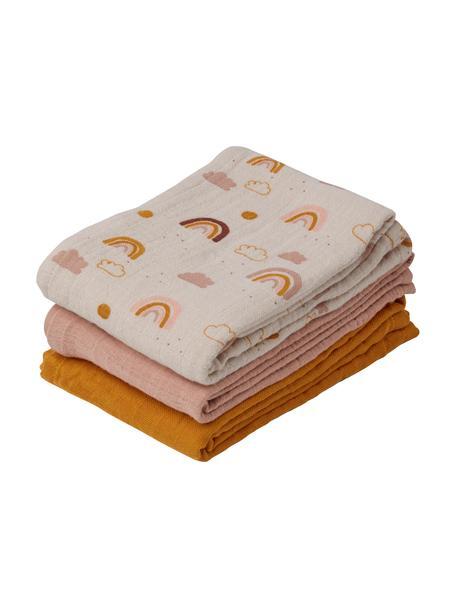 Komplet chust z bawełny organicznej Line, 3 elem., 100% bawełna organiczna, Beżowy, blady różowy, pomarańczowy, S 60 x D 60 cm