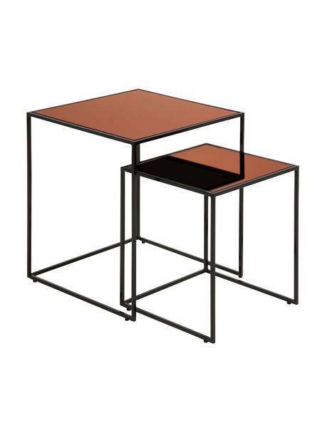 Bijzettafelset Bolton met getint glazen tafelblad, 2-delig, Frame: gepoedercoat staal, Tafelblad: gecoat veiligheidsglas, Zwart, koperkleurig, Set met verschillende formaten