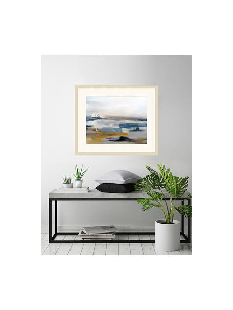 Ingelijste digitale print Abstract Art Painting, Afbeelding: digitale print op papier,, Lijst: gelakt hout, Multicolour, 63 x 53 cm