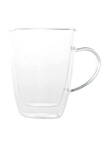 Tazas termo doble cara Isolate, 2uds., Vidrio de borosilicato, Transparente, Ø 9 x Al 12 cm