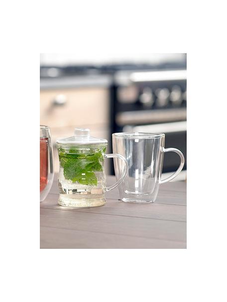 Tazas de café termo doble cara Isolate, 2uds., Vidrio de borosilicato, Transparente, Ø 9 x Al 12 cm