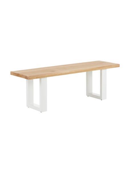 Sitzbank Oliver aus Eichenholz, Sitzfläche: Wildeichenlamellen, massi, Beine: Metall, pulverbeschichtet, Wildeiche, 140 x 45 cm