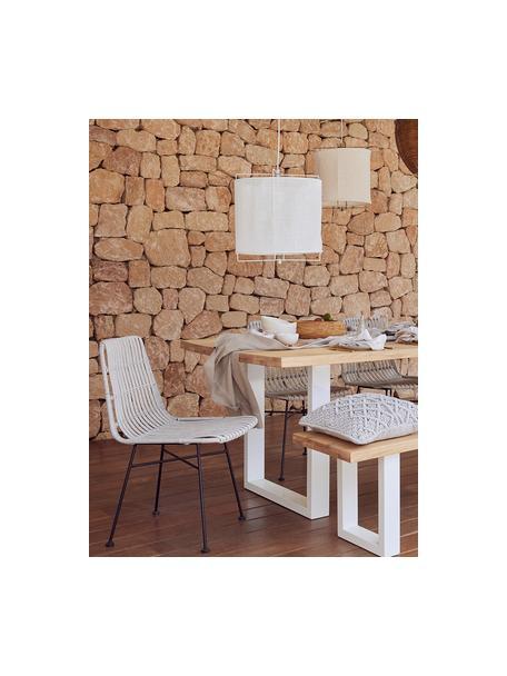 Sitzbank Oliver aus Eichenholz, Sitzfläche: Wildeichenlamellen, massi, Beine: Metall, pulverbeschichtet, Wildeiche, Weiß, 140 x 45 cm