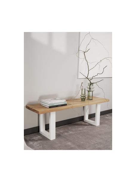 Ławka z drewna dębowego Oliver, Nogi: metal malowany proszkowo, Dzikie drewno dębowe, biały, S 140 x  W 45 cm