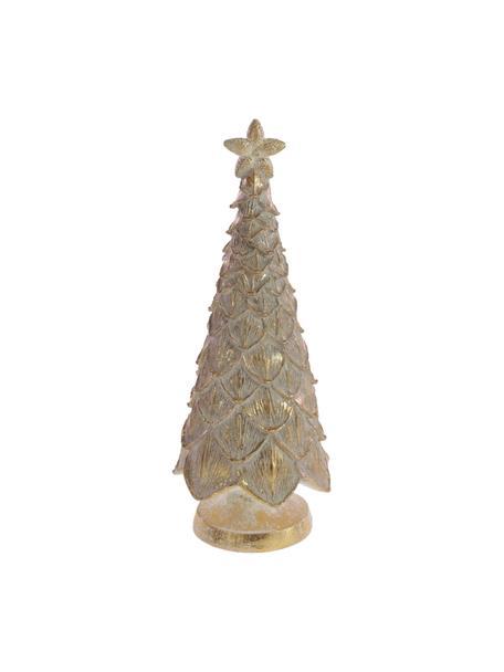 Pieza decorativa pino Laviko, Poliresina, Dorado con efecto envejecido, Ø 14 x Al 35 cm