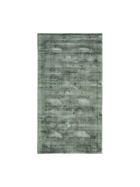 Ręcznie tkany dywan z wiskozy Jane, Zielony, S 80 x D 150 cm (Rozmiar XS)