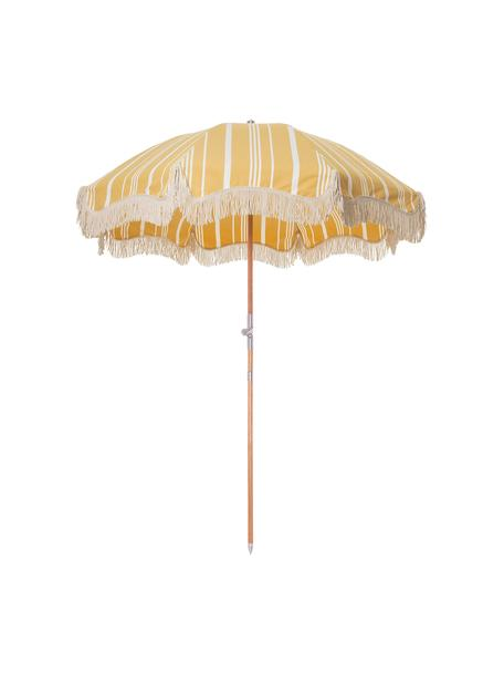 Gestreepte Parasol Retro met franjes in geel-wit, knikbaar, Frame: gelamineerd hout, Franjes: katoen, Geel, gebroken wit, Ø 180 x H 230 cm