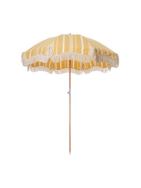 Sombrilla a rayas con flecos Retro, desmontable, Estructura: madera laminada, Flecos: algodón, Amarillo, blanco crudo, Ø 180 x Al 230 cm