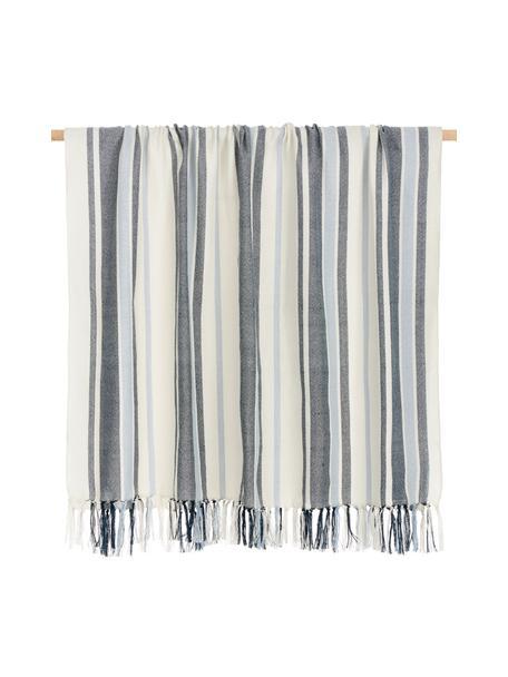 Gestreepte plaid Lines van gerecycled polyester, 100% gerecycled polyester, Blauw, wit, 130 x 170 cm